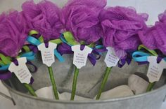 Unique Baby Shower Favor Purple, Turquoise and Lime Green Bath Puff Baby Rattle
