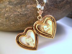 Sweetheart Locket  Vintage Rose Gold Locket with by dirtyrice, $117.00