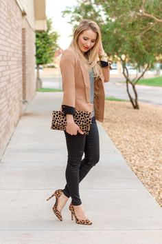 The perfect fall outfit: camel blazer, striped tee, leopard pumps and clutch, black coated skinny jeans.