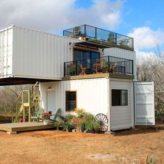 32 Ideas double story shipping container house for Amazing Stack 'em Double Shipping Container Home by . Container Homes For Sale, Building A Container Home, Container Buildings, Storage Container Homes, Container House Design, Shipping Container Home Designs, Shipping Containers, Tyni House, Tiny House Big Living