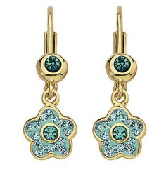 Molly Glitz Teal Crystal 14k Yellow Gold Plated Brass Child's Flower Dangle Earrings