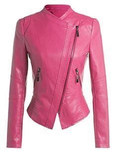 Women Slim Trendy Faux Leather Zip-Up Power Shoulder Bomb...