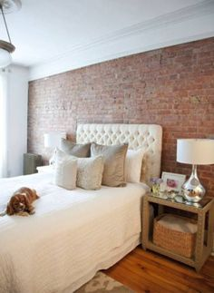 great his & her bedroom {not to masculine or too feminine} // I just need an interior brick wall somewhere in my house.
