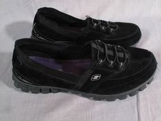 Women's Skechers Memory Foam Shoes Black Size 9 M Leather Low Slip-on Running #SKECHERS #RunningCrossTraining