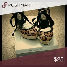 Charles and David Leopard Pony Espadrille, Sz 6 Purchased from Kristen's Shoe Boutique. Only worn twice, and selling with original box and shoe packaging. Charles David Shoes Espadrilles