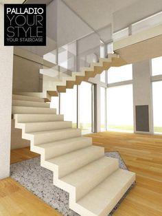 Escalera en U / peldaño de hormigón / peldaño de piedra / suspendida ART SURFACE PALLADIO SCALE