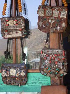 Fridays favorites, Moroccan bags.... Leather back with metal charms/talismas