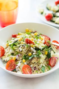 This zucchini couscous salad is a delicious salad that tastes even better as a leftover. It is made with whole wheat couscous and grilled zucchini.