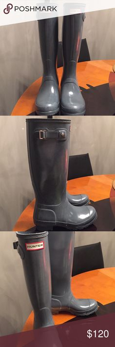 HUNTER BOOTS Graphite Gloss Gray Winter Rain Sz 6 Hunter Original Gloss Winter Rain Boots Gray 6. Great condition. Hunter Boots Shoes Winter & Rain Boots