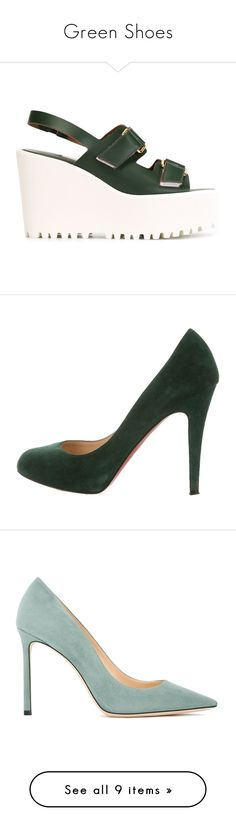 """Green Shoes"" by fashion2606 ❤ liked on Polyvore featuring shoes, sandals, green, wedge sandals, green wedge shoes, green wedge sandals, wedge heel shoes, green sandals, pumps and heels"