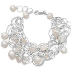"""7""""+1"""" extension 5 strand bracelet with cultured freshwater pearls (665 BRL) ❤ liked on Polyvore featuring jewelry, bracelets, cultured pearl jewelry, freshwater pearl jewelry and fresh water pearl jewelry"""