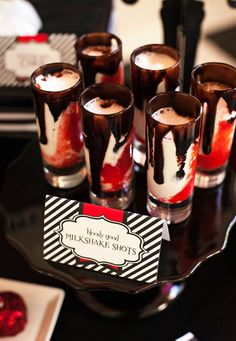 """Creative Halloween Shooters - """"Bloody Good"""" Milkshake Shots from a Twilight Vampire Party by Frog Prince Paperie"""