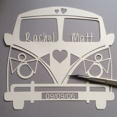 A 'udderly' gorgeous Campervan inspired papercut. The design can be personalised with your choice of names within the windscreen and a date within the number plate. These are the perfect gift for Birthdays, Weddings, Anniversaries and more. Copyright www.thecraftycalf.co.uk