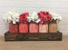 Peach Blossom Quart Mason Jars Planter Box Centerpiece