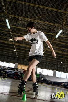 Emilie, nuestra profe de peques. En la competición Spanish Slalom Series celebrada en Sevilla, 2012