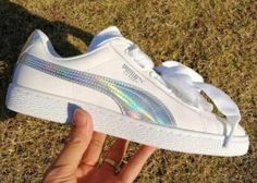 Puma Womens Basket Heart Patent Casual Shoes White Hologram Iridescent | puma