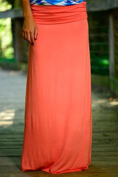 This coral maxi skirt is amazing! The comfort and color is absolutely perfect! The gorgeous maxi is such a summertime staple and you will look so stylish and be super comfy in this piece!
