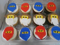 Ninjago Cupcakes 6th Birthday Parties, Birthday Fun, Birthday Cakes, Ninjago Party, Lego Ninjago, Ninja Cake, Character Cupcakes, Transformer Party, Kids Party Decorations