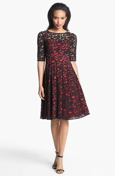 Adrianna Papell Lace Overlay Fit & Flare Dress (Regular & Petite) available at #Nordstrom