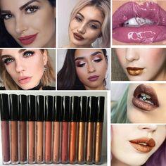 Professional Metal Lipgloss Matte Waterproof Makeup Long Lasting Pigments Gold Brown Metallic Lipstick Matte Liquid * Ini pin AliExpress affiliate.  Tawarkan dapat ditemukan dengan mengklik tombol KUNJUNGI