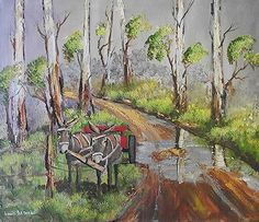"Buy AN ORIGINAL LOUIS PRETORIUS:""Donkeys on dirt Road""(600mm x 500mm x 20mm) for R890.00"