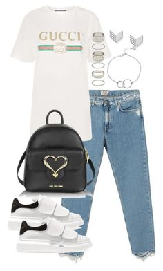 """""""Untitled #3400"""" by theeuropeancloset on Polyvore featuring Acne Studios, Gucci, Love Moschino, Alexander McQueen, Forever 21, Chupi and FOSSIL"""