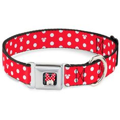 Disney Minnie Mouse Polka Dot/Mini Silhouette Red/White Buckle Clip Dog Collar *** Find out more about the great product at the image link.
