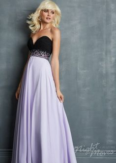 Jeweled Waist Black Lilac Pleated Night Moves 7023 Long Prom Dress