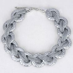 Funeral Silver Color Metal Decorated Weave Design Alloy Korean Necklaces :Asujewelry.com