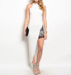 Lace Mini Insert Asymmetric Maxi Dress in White & Black #USTrendy www.ustrendy.com