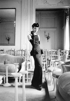 "Renée in Dior's dress called ""Gazette du Bon Ton"", Autumn/Winter collection, H Line 1954, photo by Mark Shaw, Maison Dior, Paris"