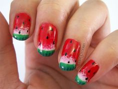 Watermelon Nails from http://www.polishcookies.pl/