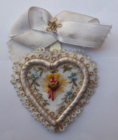 Genuine Beautiful Holy Scapular Sacred Heart of Jesus Hand Embroidery 1900s