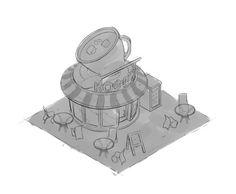 Quick concept for isometric cafe 03  FACEBOOK: https://www.facebook.com/NickProkoArt