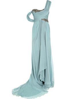 Marchesa One-shoulder embellished silk-georgette gown | NET-A-PORTER