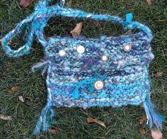 Blue Handbag purse fiber art hand spun wool by LifesAnExpedition