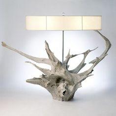 Linekin floor lamp – www.designsadrift… Linekin floor lamp – www. Driftwood Furniture, Driftwood Lamp, Driftwood Projects, Driftwood Sculpture, Driftwood Ideas, Creation Deco, Wooden Lamp, Lampshades, Wood Design