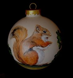 Christmas ornament - Squirrel, hand painted glass ball ornaments. $26.00, via Etsy.
