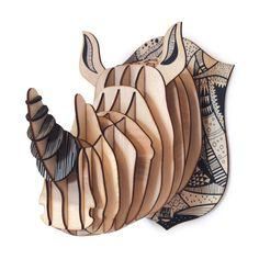 Tête de rhinocéros en bois à monter soi-même.