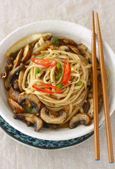 Ramen Noodles with Sautéed Mushrooms. Replace oyster sauce with vegetarian mushroom sauce.