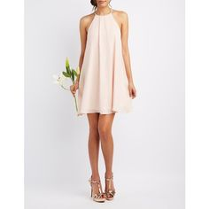 Charlotte Russe Bib Neck Shift Dress ($40) ❤ liked on Polyvore featuring dresses, peach whip, evening dresses, peach prom dresses, white bridesmaid dresses, peach bridesmaid dresses and white dress