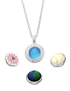 Kameleon is sterling silver jewelry with the option of changing it's center or jewel pop. You can create 100's of different looks with one piece. Just change out the pops. Pendant $89, pops are additional