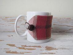 Red Plaid Coffee Mug Cozy Java Jacket Mocha Cafe par aclhandweaver