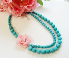 Bright Pink Clay Flower On Two Layers Turquoise by BijiBijoux, Another one