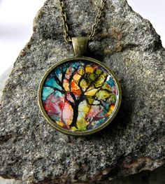 Round art Pendant Colourful Eggshell Mosaic by Artbycarriepaquette,