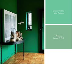 life Go green - and you don't even have to recycle! Farrow & Ball Arsenic paint, Little Greene Green Farrow Ball, Farrow And Ball Paint, Green Wall Color, Wall Colors, Green Walls, Paint Colours, Interior Paint, Luxury Interior, Interior Design