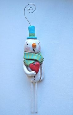 Winter Snowman Christmas Ornament polymer by cortneyrectorFOLKART