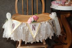 Vintage Storybook First Birthday. Banner and Fabric Fringe.