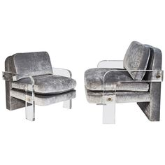 Imagine a lux waiting room, the print files against the wall, under a magnificent industrial window in the studio. Yes! Make it happen, Universe! #manifesting Vladimir Kagan, Pair of Oversized Lucite Lounge Chairs, USA, circa 1970s | From a unique collection of antique and modern armchairs at https://www.1stdibs.com/furniture/seating/armchairs/