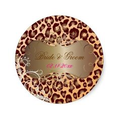 Leopard pearl swirls wedding stickers